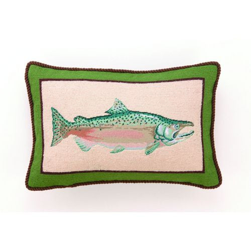 Salmon Needlepoint Pillow