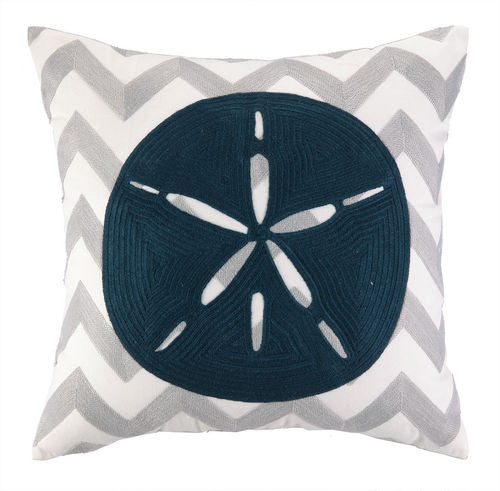 Sand Dollar Chevron Embroidered Pillow