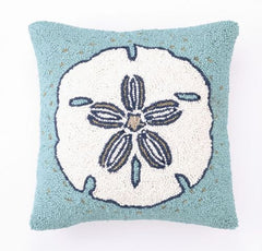 Sand Dollar Hook Pillow Aqua