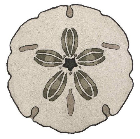 Sand Dollar Shaped Hook Rug Accent Coastal Style Gifts