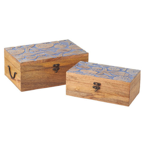 Sanibel Hand Carved Boxes - Set of 2