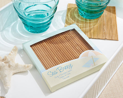 Sea Breeze Bamboo Coaster Set of 4