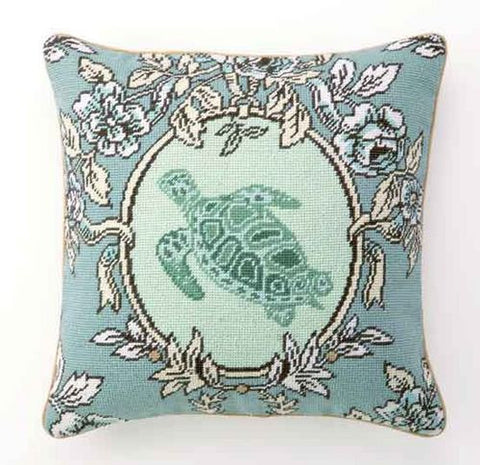 Sea Breeze Tortoise Needlepoint Pillow