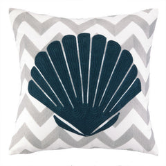Seashell Chevron Embroidered Pillow