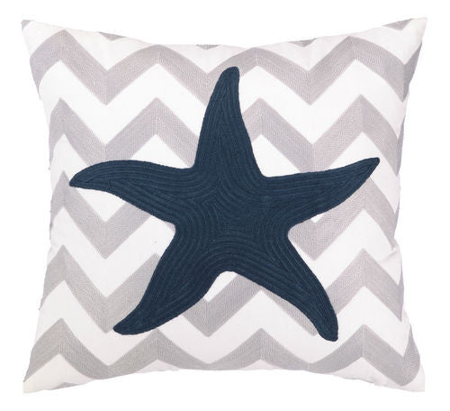 Sea Star Chevron Embroidered Pillow