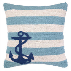 Small Anchor on Blue Stripes Hook Pillow- Backordered Item!