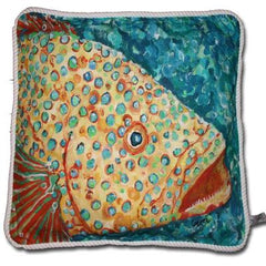 Spotted Grouper Cotton Canvas Pillow- Indoor/Outdoor- Oversized