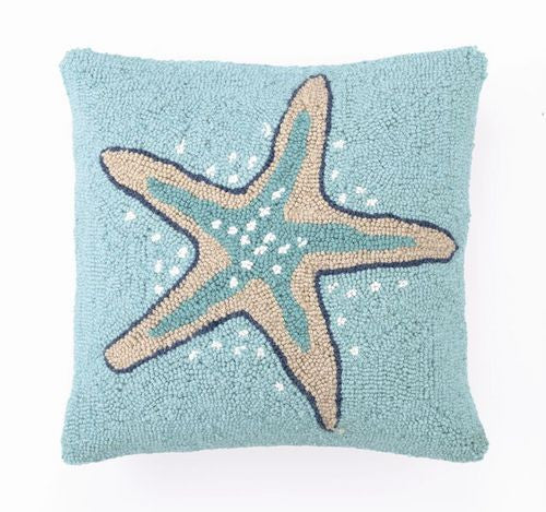 Starfish Hook Pillow Aqua
