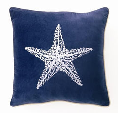 Starfish Velvet Embroidered Pillow