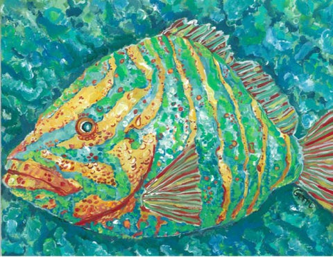 Striped Grouper Canvas Floor Mat