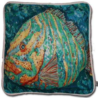 Striped Grouper Cotton Canvas Pillow- Indoor/Outdoor- Oversized