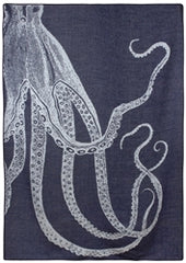 Octopus Alpaca Throw Blanket - Navy