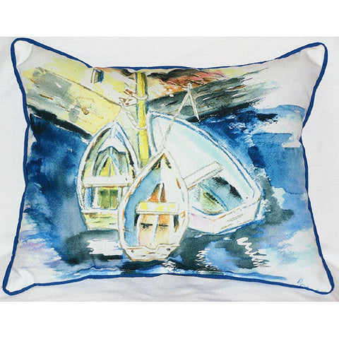 Betsy Drake Three Row Boats Pillow- Indoor/Outdoor