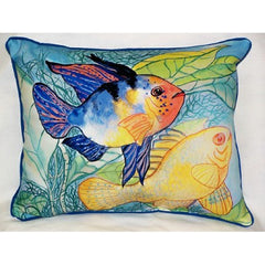 Betsy Drake Two Fish Pillow- Indoor/Outdoor