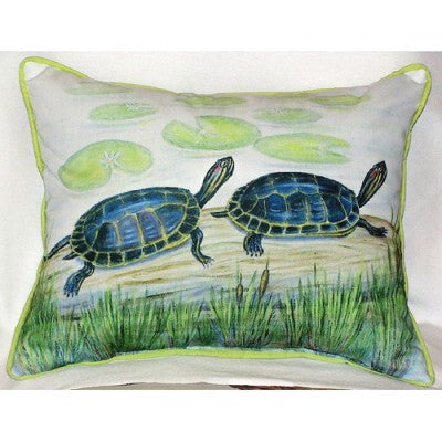 Betsy Drake Two Turtles Pillow- Indoor/Outdoor
