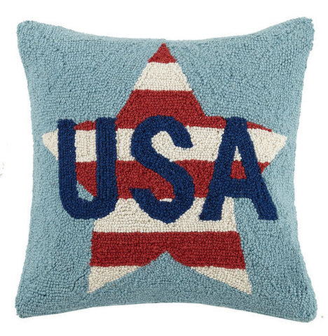 USA Striped Star Pillow