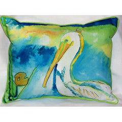 Betsy Drake White Pelican Pillow- Indoor/Outdoor