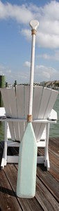 Wooden Distressed Paddle- White & Aqua- 5'5