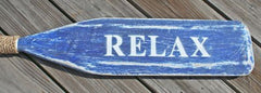 Wooden Distressed Paddle-White/Blue