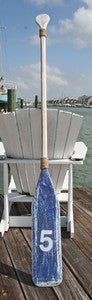 Wooden Distressed Paddle- White & Blue- 5'5