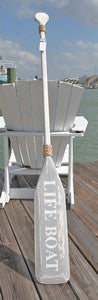 Wooden Distressed Paddle- White & Gray Lifeboat- 5'5