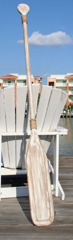Wooden Distressed Paddle - White/White  - 5'5