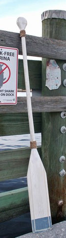 Wooden Distressed Paddle- White/Nantucket Blue Tip- 5'5