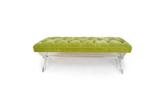 Acrylic X Legs With Tufted Top Bench