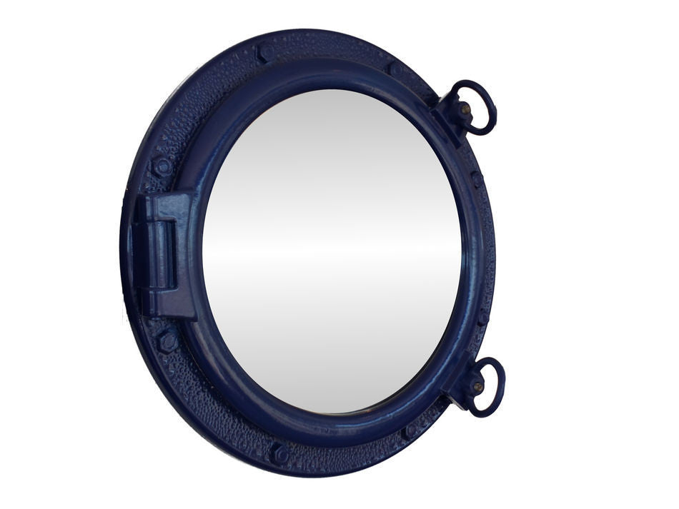 Navy Blue Porthole Mirror 20