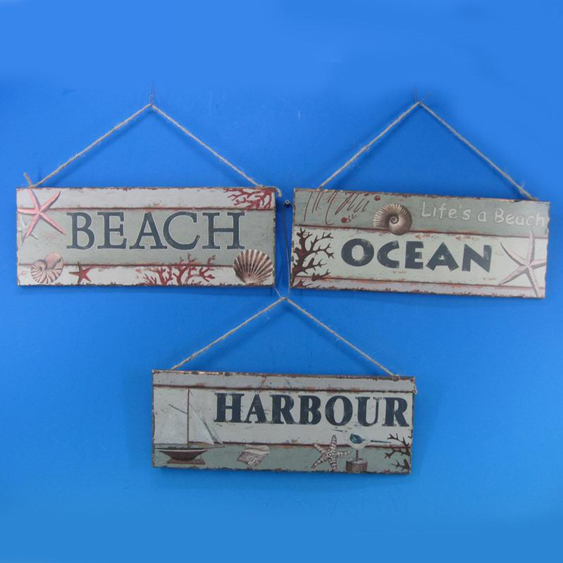 Wooden Ocean Beach And Harbour Sign 16