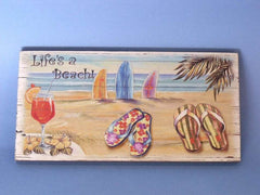 Wooden Sandal Life's a Beach Sign 16