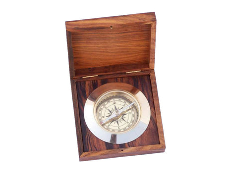 Solid Brass Admiral's Desk Compass w/ Rosewood Box 5