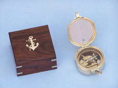 Solid Brass Brunton Pocket Transit Compass w/ Rosewood Box 4