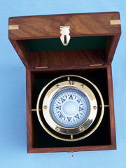 Solid Brass Gimbal Compass w/ Rosewood Box 4.5