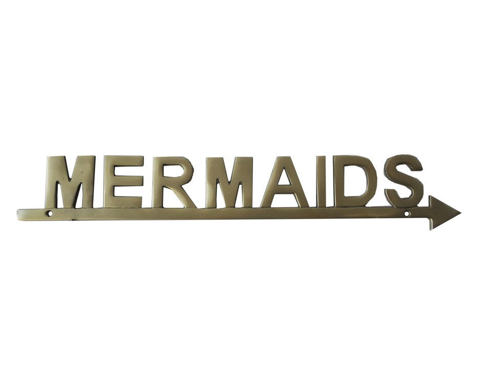 Solid Brass Mermaids Sign 17