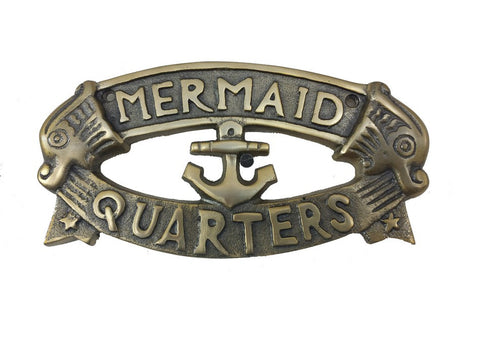 Antique Solid Brass Mermaid's Quarters Sign 8