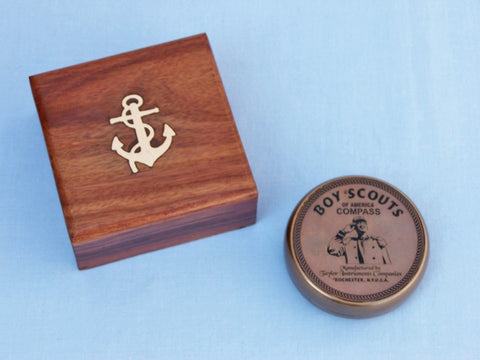Antique Brass Boy Scout Compass w/ Rosewood Box 3