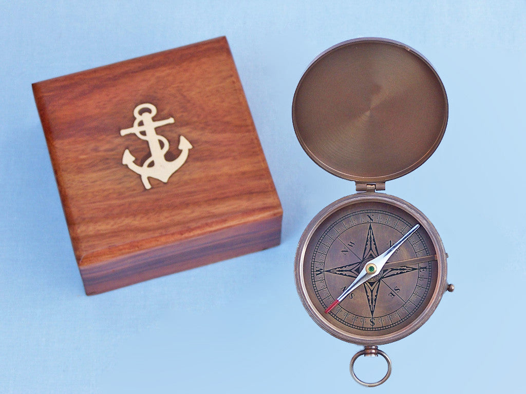 Antique Brass Gentlemen's Compass w/ Rosewood Box 4