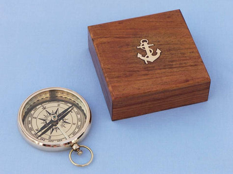 Solid Brass Beveled Lensatic Compass w/ Rosewood Box 4
