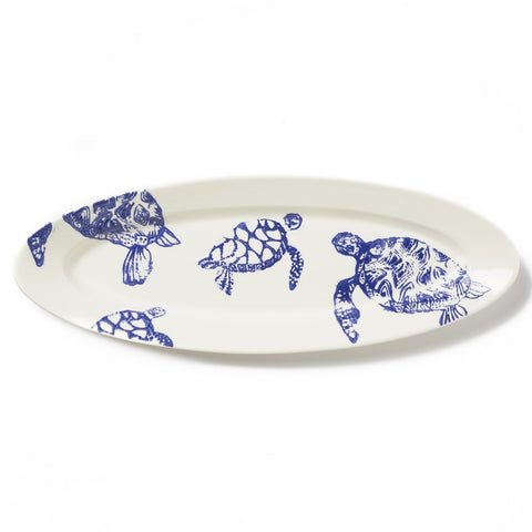 Costiera Blue Turtle Narrow Oval Platter