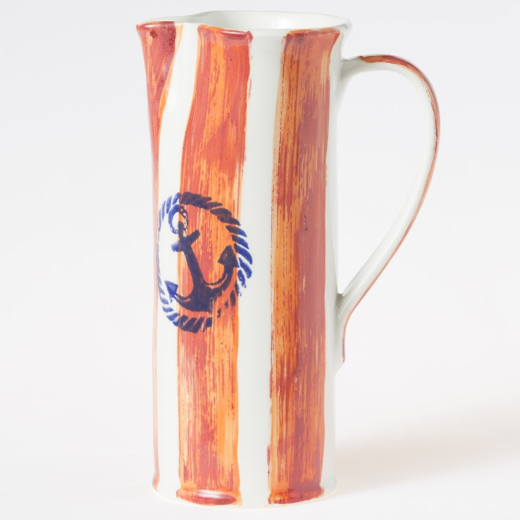Costiera Coral Striped Tall Pitcher
