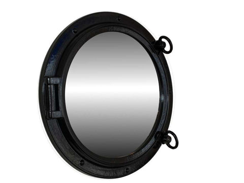 Gloss Black Finish Porthole Mirror 15