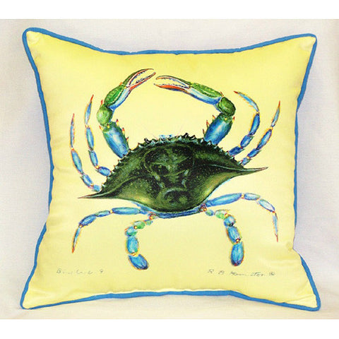 Betsy Drake Female Blue Crab Pillow- Indoor/Outdoor