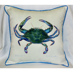 Betsy Drake Male Blue Crab Pillow- Indoor/Outdoor