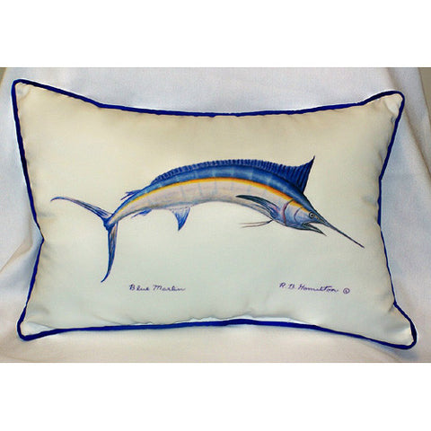 Betsy Drake Blue Marlin Pillow- Indoor/Outdoor