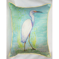 Betsy Drake Snowy Egret Pillow- Indoor/Outdoor