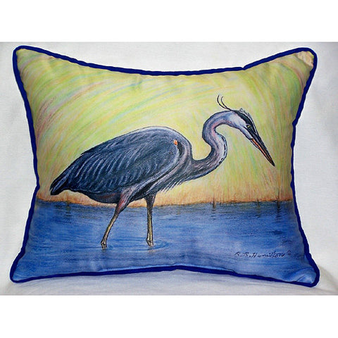 Betsy Drake Blue Heron Pillow- Indoor/Outdoor