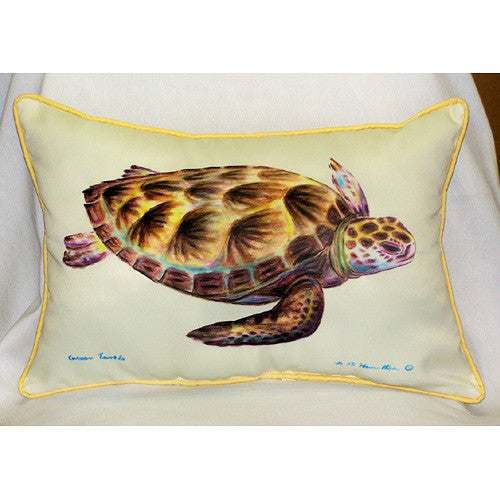 Betsy Drake Green Sea Turtle Pillow- Indoor/Outdoor