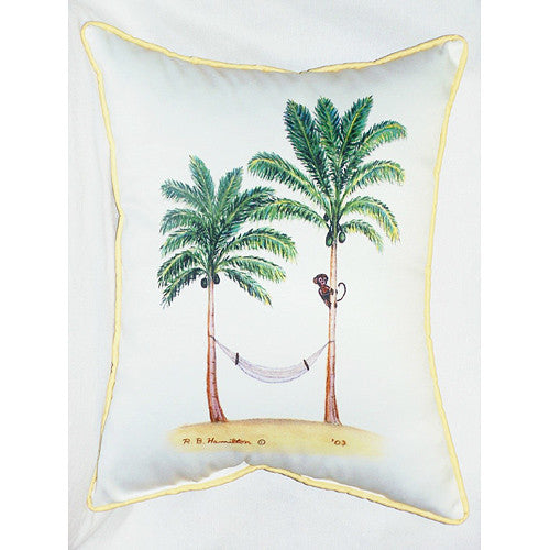 Betsy Drake Monkey and Palm Pillow- Indoor/Outdoor