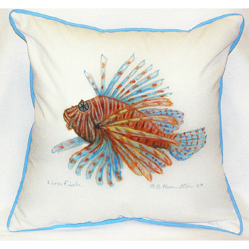 Betsy Drake Lion Fish Pillow- Indoor/Outdoor